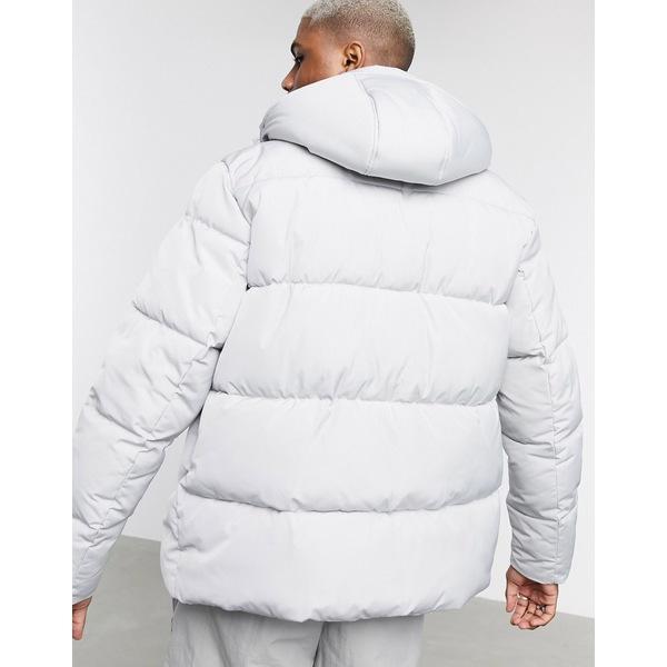 エイソス メンズ ジャケット&ブルゾン アウター ASOS DESIGN sustainable puffer jacket with hood in gray Gray