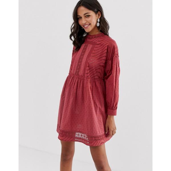 エイソス レディース ワンピース トップス ASOS DESIGN dobby high neck mini smock dress with lace trims Red