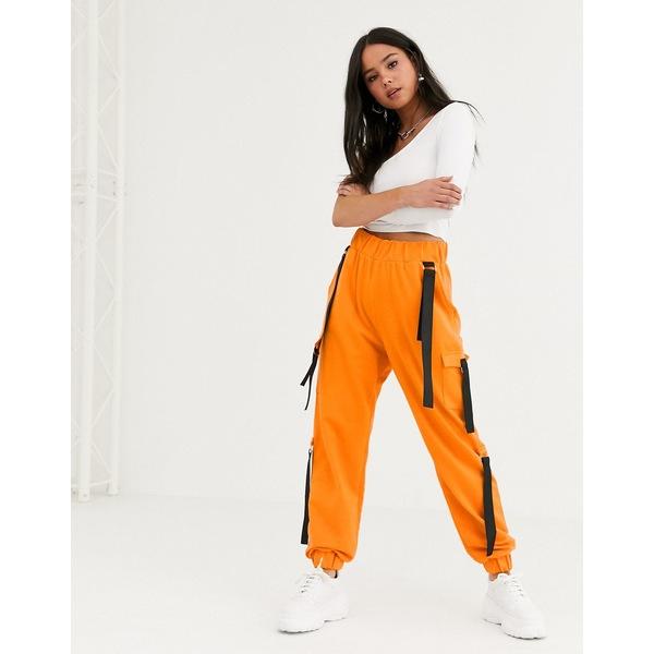エイソス レディース カジュアルパンツ ボトムス ASOS DESIGN strap detail cargo pant jogger Orange