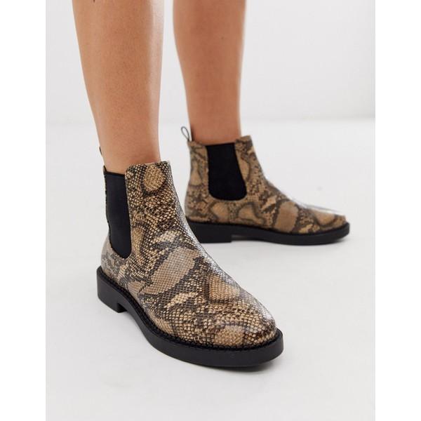 エイソス レディース ブーツ&レインブーツ シューズ ASOS DESIGN Auto chunky chelsea boots in snake Snake