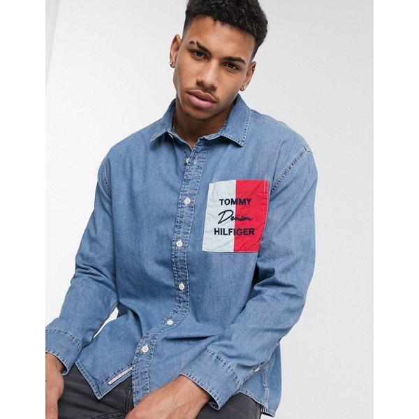 トミー ヒルフィガー メンズ シャツ トップス Tommy Hilfiger logo pocket denim shirt in medium wash Medium wash
