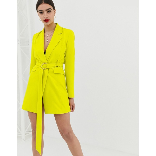 クラブエルロンドン レディース ワンピース トップス Club L London longline blazer dress with buckle detail in lime Lime green