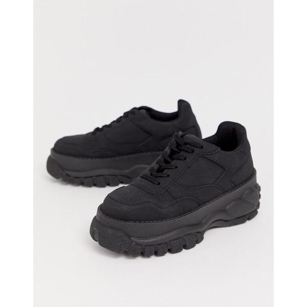 優先配送 エイソス レディース シューズ スニーカー Black ◆高品質 全商品無料サイズ交換 ASOS black sneakers in Denmark DESIGN chunky
