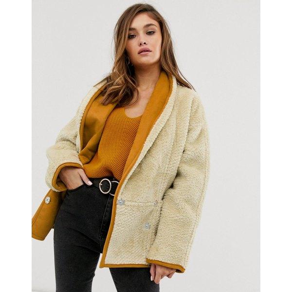 エイソス レディース コート アウター ASOS DESIGN teddy coat with shawl collar in cream Cream
