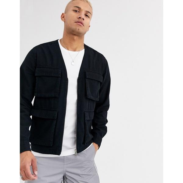 エイソス メンズ シャツ トップス ASOS DESIGN washed black denim zip through overshirt with utility pockets Black