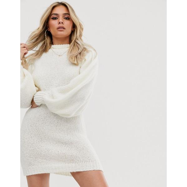 エイソス レディース ワンピース トップス ASOS DESIGN mini sweater dress in lofty yarn with volume sleeve Cream