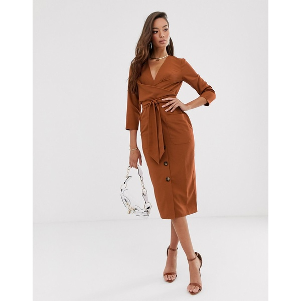 エイソス レディース ワンピース トップス ASOS DESIGN button through tie wrap around midi dress in rust Rust