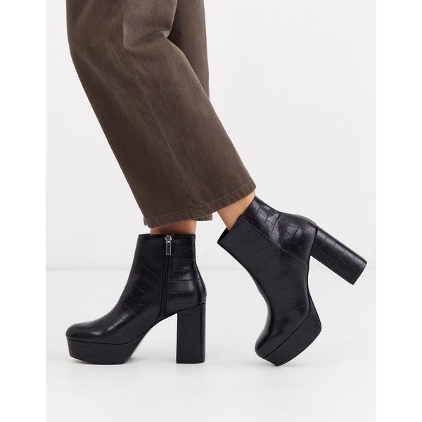 ストラディバリウス レディース ブーツ&レインブーツ シューズ Stradivarius moc croc platform boots in black Black