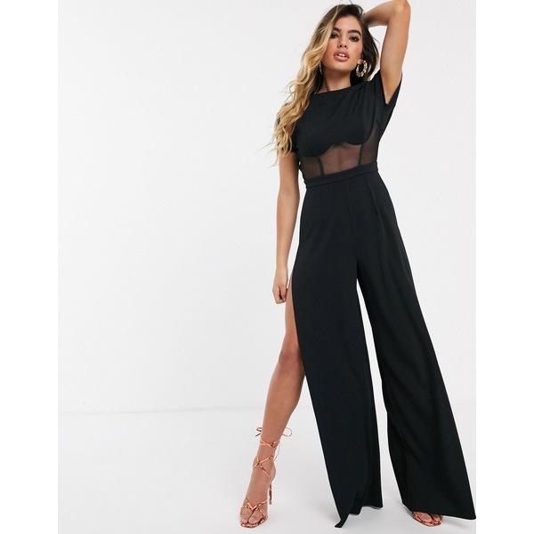エイソス レディース ワンピース トップス ASOS DESIGN jumpsuit with mesh corset and split leg Black