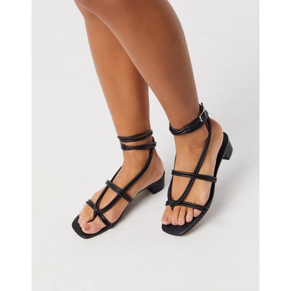 エイソス レディース サンダル シューズ ASOS DESIGN Felipe tubular tie sandal in black Black