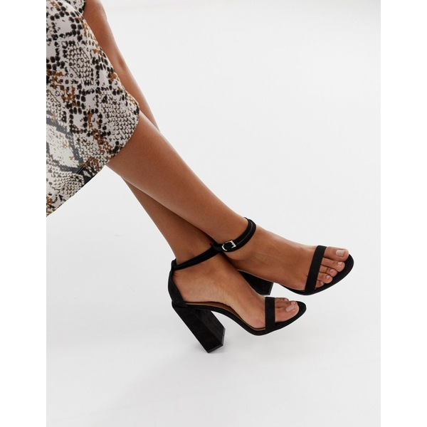 エイソス レディース ヒール シューズ ASOS DESIGN Highlight barely there block heeled sandals Black