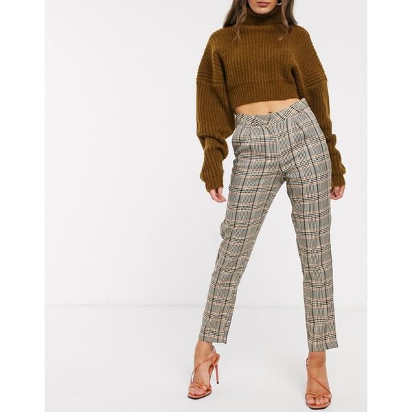 ヴィラ レディース カジュアルパンツ ボトムス Vila cigarette pants in brown check Multi