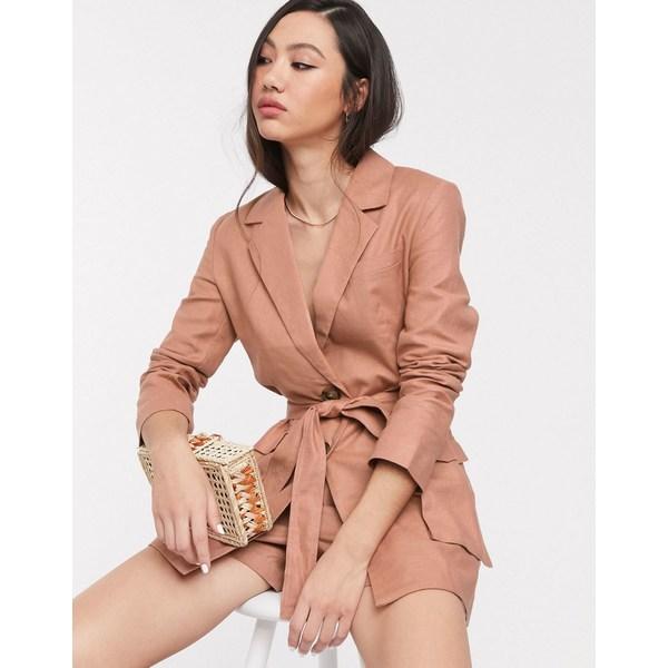 エイソス レディース ジャケット&ブルゾン アウター ASOS DESIGN splendid linen suit blazer Fudge