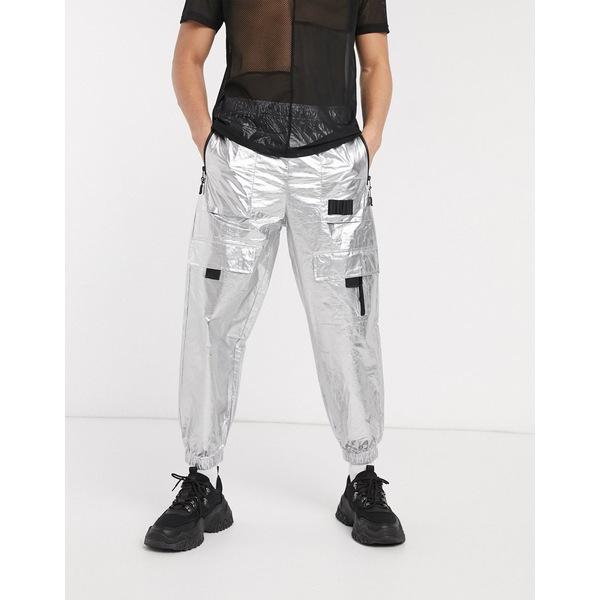 エイソス メンズ カジュアルパンツ ボトムス ASOS DESIGN two-piece oversized tapered tech sweatpants with contrast zips in silver Silver