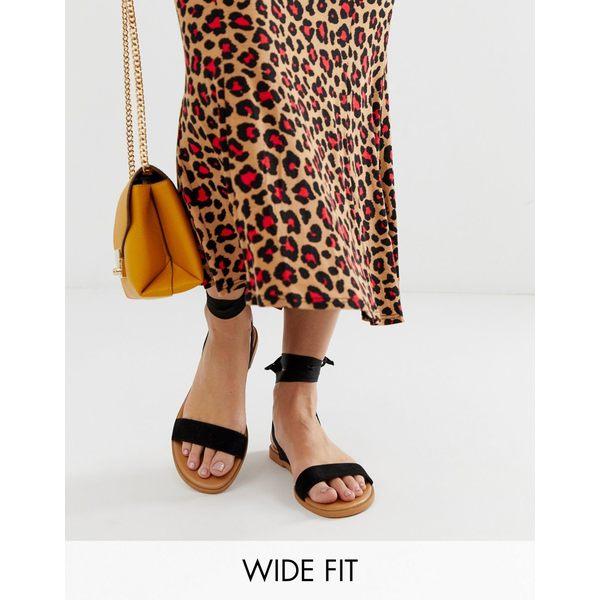 エイソス レディース サンダル シューズ ASOS DESIGN Wide Fit Flawless tie leg sandals Black