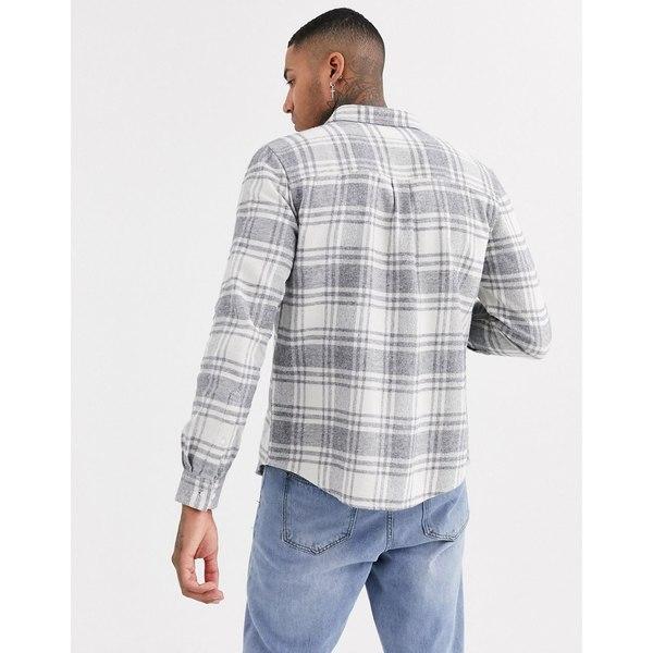 エイソス メンズ シャツ トップス ASOS DESIGN regular check shirt in gray Gray
