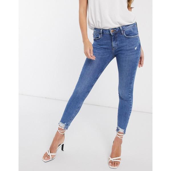 リバーアイランド レディース デニムパンツ ボトムス River Island Amelie raw hem skinny jeans in mid wash Mid wash