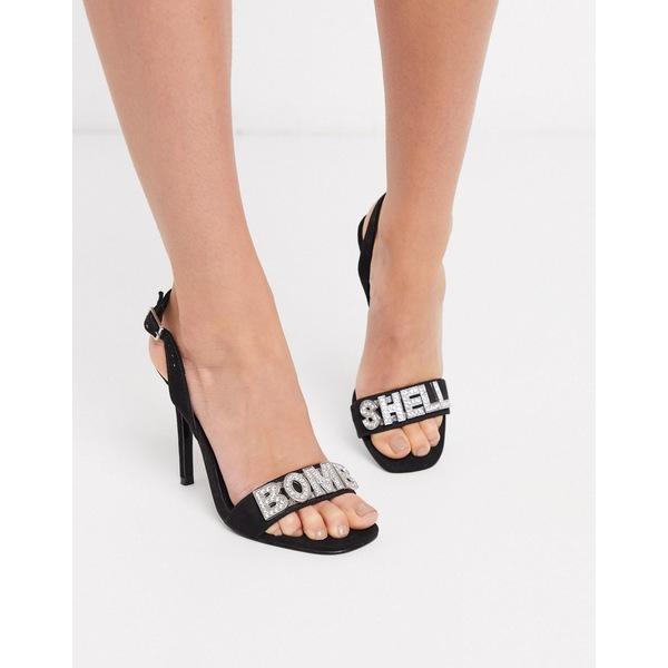 エイソス レディース ヒール シューズ ASOS DESIGN Necessary Bomb Shell slogan slingback high heeled sandals in black Black