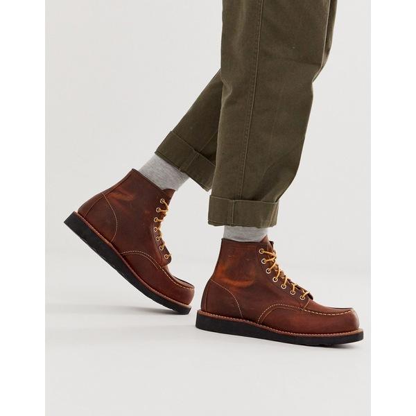 レッドウィング メンズ ブーツ&レインブーツ シューズ Red Wing classic 6 inch moc boots in coppoer rough leather Brown