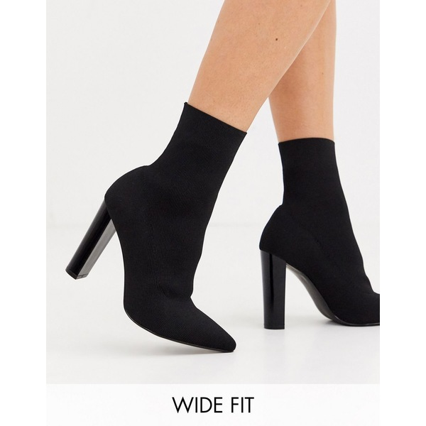 エイソス レディース ブーツ&レインブーツ シューズ ASOS DESIGN Wide Fit Enhance block heel sock boots in black knit Black knit