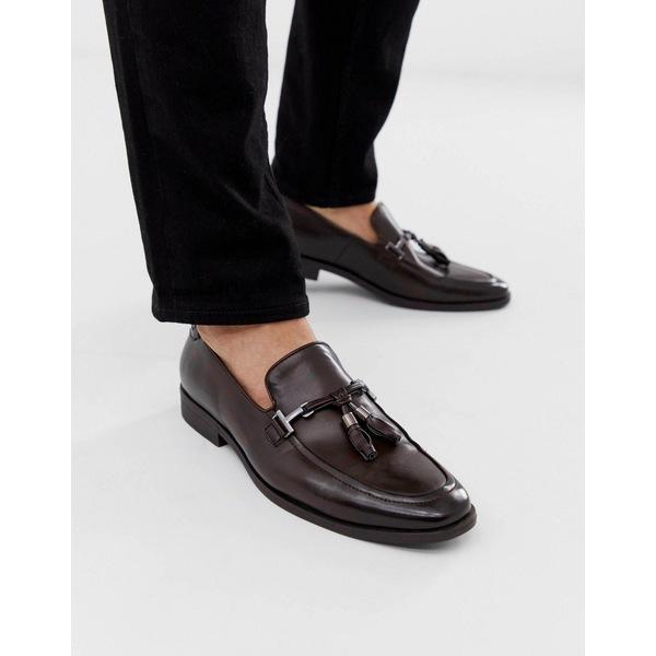 エイソス メンズ スリッポン・ローファー シューズ ASOS DESIGN loafers in brown faux leather with tassel Brown