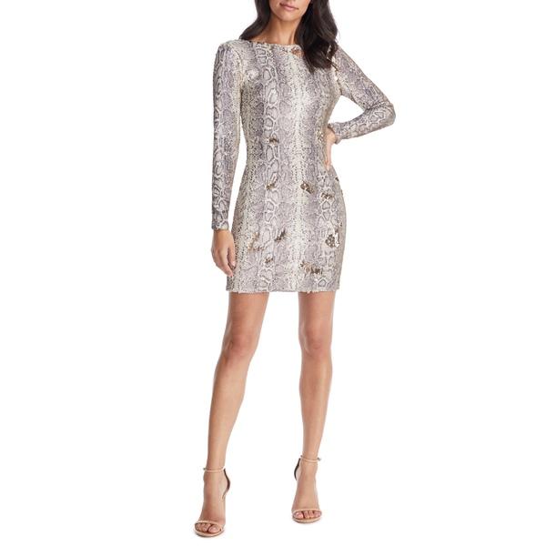ドレスザポプレーション レディース ワンピース トップス Dress the Population Dress Lola ワンピース Long Sequin Sleeve Python Sequin Minidress Python Gold Multi, マタハリ:58501673 --- officewill.xsrv.jp