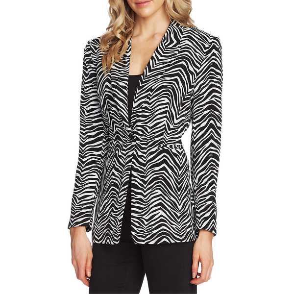ヴィンスカムート レディース ジャケット&ブルゾン アウター Vince Camuto Peak Lapel Zebra Print Blazer Rich Black
