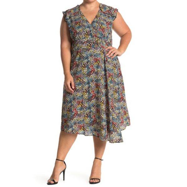 ソーシャライト レディース ワンピース トップス Ditsy Floral Ruffled Faux Wrap Midi Dress (Plus Size) BLACK MULT