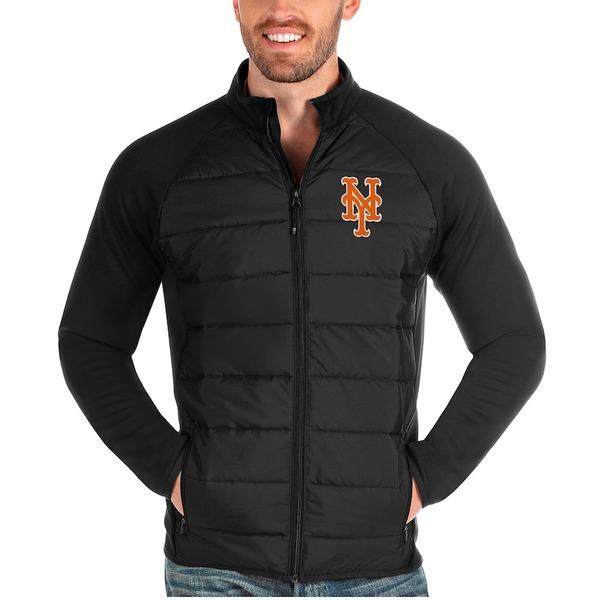 アンティグア メンズ ジャケット&ブルゾン アウター New York Mets Antigua Altitude Full-Zip Jacket Black