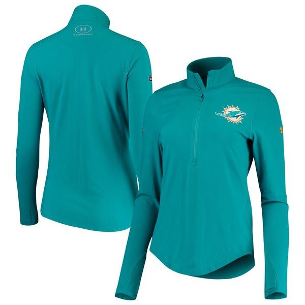 アンダーアーマー レディース ジャケット&ブルゾン アウター Miami Dolphins Under Armour Women's Combine Authentic Favorites Half-Zip Jacket Aqua
