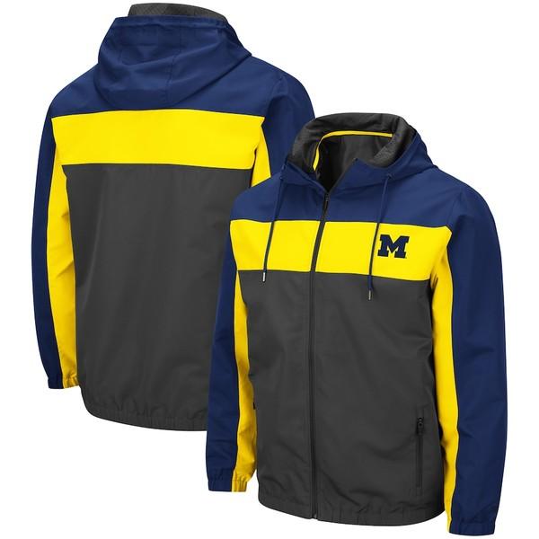 コロシアム メンズ ジャケット&ブルゾン アウター Michigan Wolverines Colosseum Brockman Full-Zip Jacket Charcoal