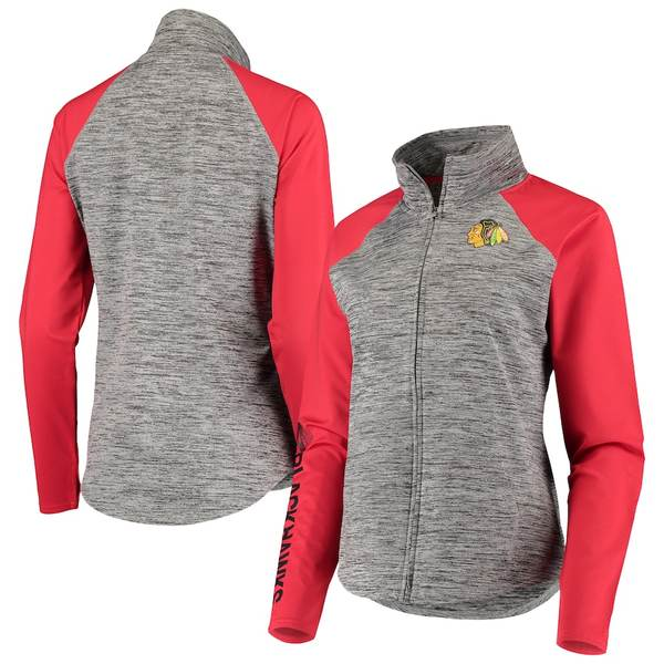 カールバンクス レディース ジャケット&ブルゾン アウター Chicago Blackhawks G-III 4Her by Carl Banks Women's Energize Full-Zip Jacket Gray/Red