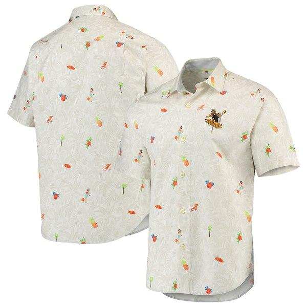 トッミーバハマ メンズ シャツ トップス Pittsburgh Steelers Tommy Bahama Beach-cation Team Throwback Button-Up Woven Shirt White