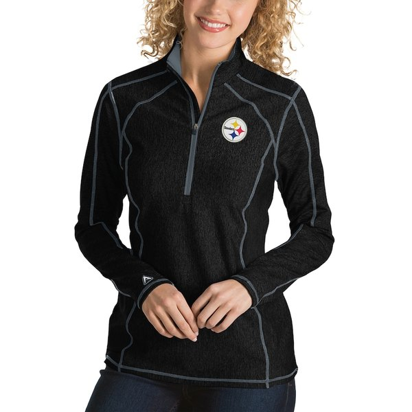 アンティグア レディース ジャケット&ブルゾン アウター Pittsburgh Steelers Antigua Women's Tempo Desert Dry Quarter-Zip Jacket Heather Black