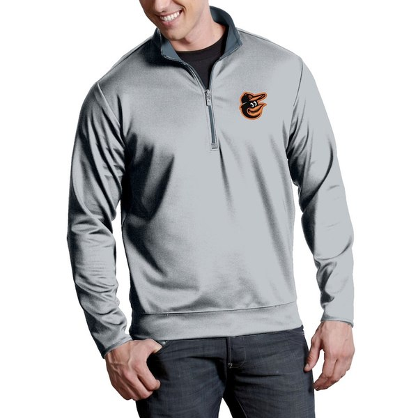アンティグア メンズ ジャケット&ブルゾン アウター Baltimore Orioles Antigua Leader Quarter-Zip Pullover Jacket Silver