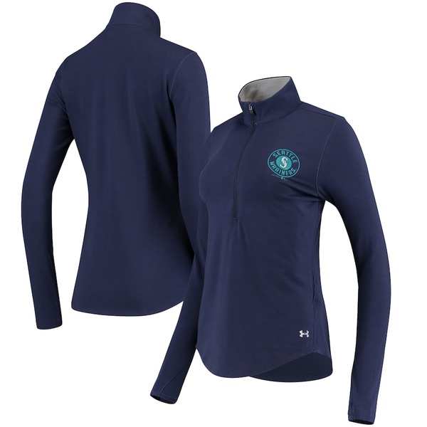 アンダーアーマー レディース ジャケット&ブルゾン アウター Seattle Mariners Under Armour Women's Charged Cotton Half-Zip Pullover Jacket Navy