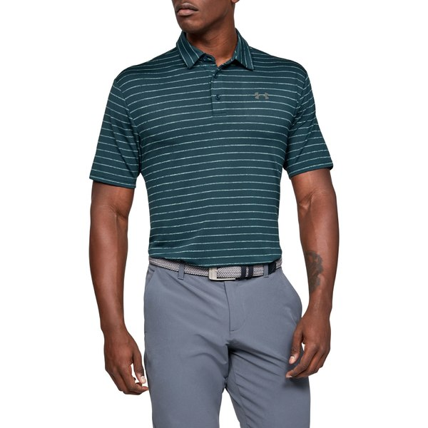 アンダーアーマー メンズ ポロシャツ トップス Under Armour Men's Playoff 2.0 Tour Stripe Golf Polo TandemTeal/PitchGray