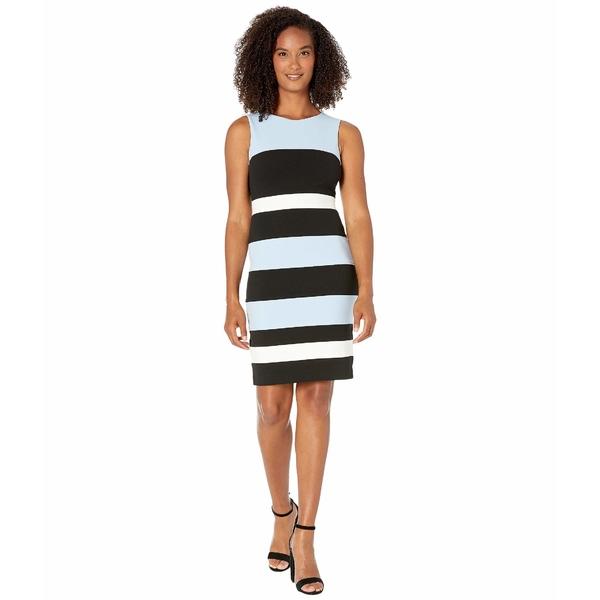 トミー ヒルフィガー レディース ワンピース トップス Color Block Stripe Sheath Dress Crystal Blue/Black/Ivory