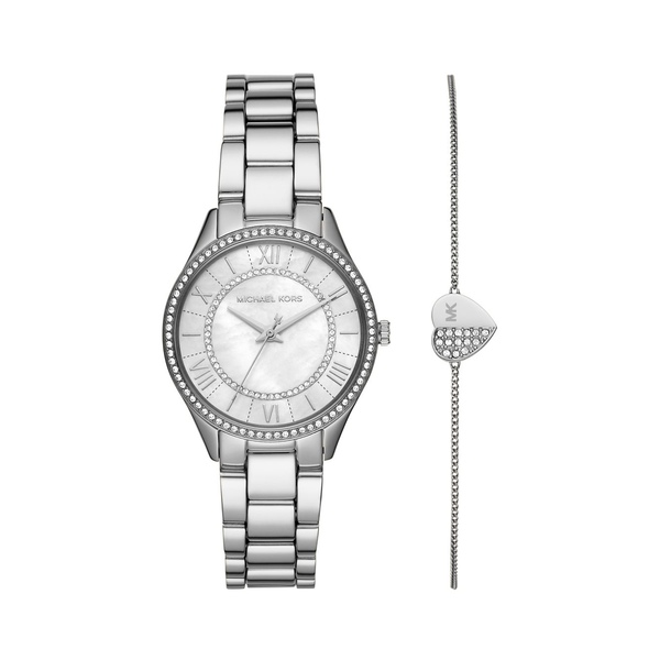 マイケルコース レディース 腕時計 アクセサリー Mini Lauryn Pavé Stainless Steel Bracelet Watch Gift Set Silver
