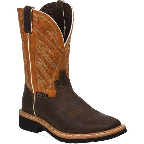 ジャスティンブーツ メンズ ブーツ&レインブーツ シューズ Justin Men's Stampede Steel Toe Work Boots Brown