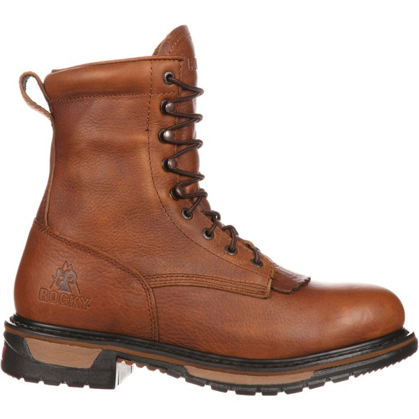 ロッキー メンズ ブーツ&レインブーツ シューズ Rocky Men's Original Ride Lacer 8'' Waterproof Work Boots TanPitstop