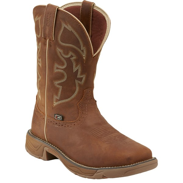 ジャスティンブーツ メンズ ブーツ&レインブーツ シューズ Justin Men's Stampede Rush Waterproof Steel Toe Western Work Boots Tan
