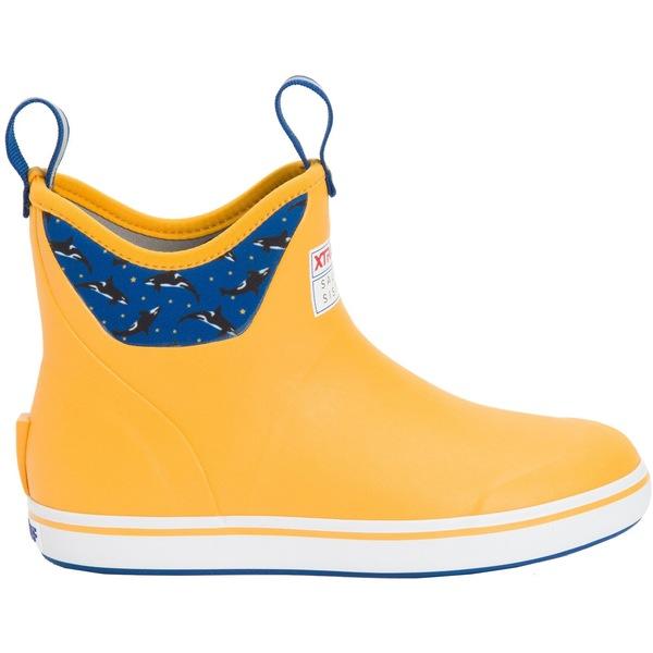 エクストラタフ メンズ ブーツ&レインブーツ シューズ XTRATUF Women's 6'' Deck Salmon Sisters Fishing Boots Yellow/CelestialBlue