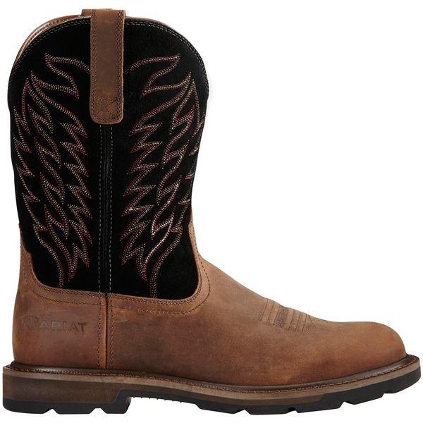 アリアト メンズ ブーツ&レインブーツ シューズ Ariat Men's Groundbreaker Western Work Boots Brown/Black