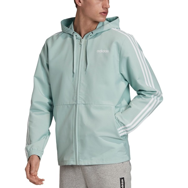 アディダス メンズ ジャケット&ブルゾン アウター adidas Men's 3-Stripes Essentials Woven Windbreaker GreenTint/White