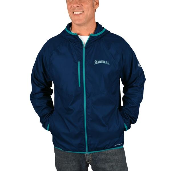 マジェスティック メンズ ジャケット&ブルゾン アウター Seattle Mariners Majestic Strong Will Dry Base FullZip Hooded Jacket Navy