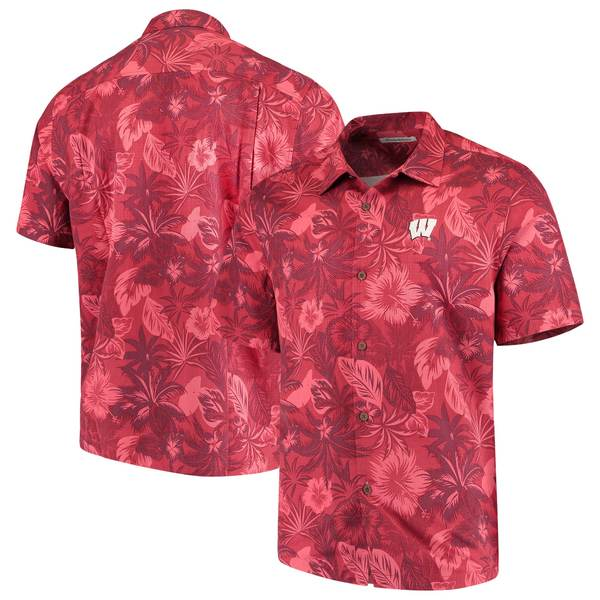 トッミーバハマ メンズ シャツ トップス Wisconsin Badgers Tommy Bahama Fuego Floral Silk Camp Shirt Red