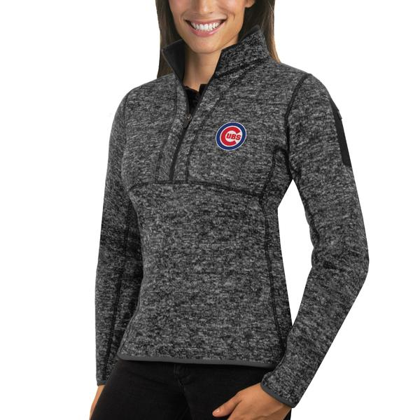 アンティグア レディース ジャケット&ブルゾン アウター Chicago Cubs Antigua Women's Fortune HalfZip Pullover Sweater Heathered Charcoal