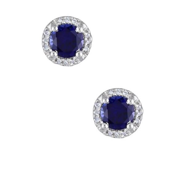 Blue Created ピアス&イヤリング Stud BLUE Diamond アクセサリー Earrings Round Sapphire Sterling デルマール Silver & レディース
