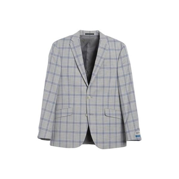 ケネスコール メンズ ジャケット&ブルゾン アウター Windowpane Two Button Notch Lapel Modern Fit Jacket 050GREY/BL
